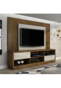 Estante Para Home Theater Cronus 2 Gv Ipê E Branco 217 Cm