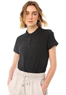 Camisa Polo Gap Reta Lisa Preta