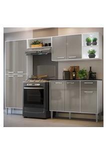 Cozinha Completa Compacta C/ 2 Leds, Armário E Balcáo C/ Tampo 4 Pçs Xangai Multimóveis Bca/Lca Fumê