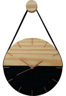 Relógio De Parede Minimalista Preto E Rosê Com Alça