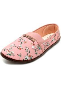 Sapatilha Moleca Tecido Floral Lona - Feminino-Rosa