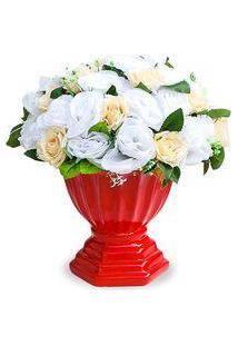 Arranjo De Flores Artificiais Mistas No Cachepot Vermelho 40X28 Cm