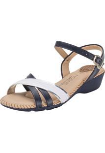 Sandália Feminina Salto Baixo Modare - 7017435 Azul/Branco 38