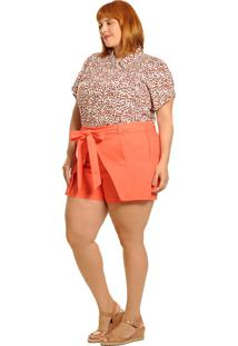 Camisa Animal Print Coral Plus Size