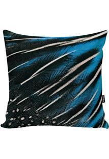 Capa Para Almofada Feathers- Preta & Azul- 45X45Cm