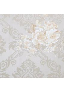Papel De Parede Arabescos & Floral- Cinza Claro & Bege