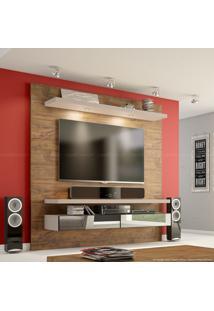 Painel Para Tv Até 50 Polegadas Tb107 Com Led E Espelho 100% Mdf 180 X 180 X 40 Nobre/Fendi - Dalla Costa