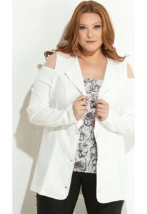 3fe675cb96 ... Blazer Off White Ombros Vazados Plus Size