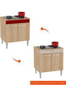 Balcão De Cozinha Classic Flex 3 Pt 2 Gv Carvalho, Branco E Bordô