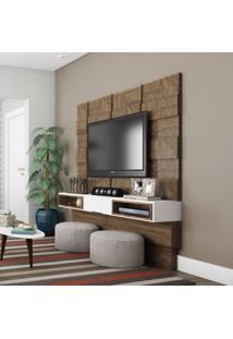 Painel Bambuí I Para Tv 65 Polegadas Nobre E Branco Brilho 175 Cm