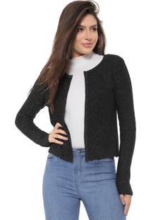 Cardigan Facinelli By Mooncity Tricot Lurex Preto