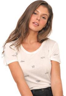 Camiseta Polo Wear Reta Lettering Off-White - Off White - Feminino - Viscose - Dafiti