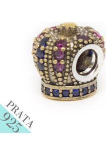 Pingente Prata 925 Coroa Com Zirconia Memories - Feminino-Prata