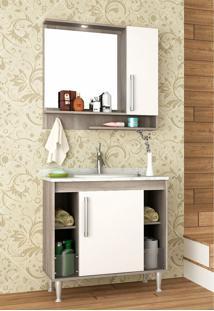Conjunto Para Banheiro Brisa Barrique/Branco C/ Marmore Branco Bosi