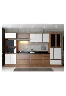 Cozinha Completa Multimóveis Com 11 Peças Calábria 5450R Nogueira/Branco