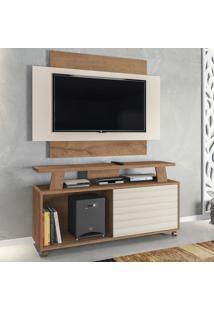 Rack Com Painel Para Tv Até 50 Polegadas Rivera 1 Porta Canelato Rústico/3D Natura Off White - Atualle Móveis