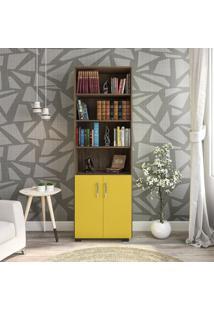 Estante Livreiro 6 Prateleiras Office Avelã Com Portas Pequenas Amarelas Móveis Leão