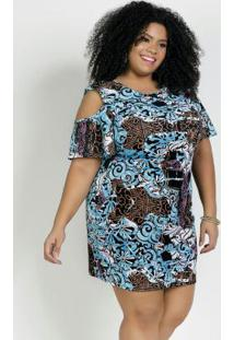 Vestido Curto Arabescos Mangas Amplas Plus Size