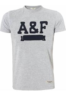 Camiseta Abercrombie Masculina Applique A&F Cinza