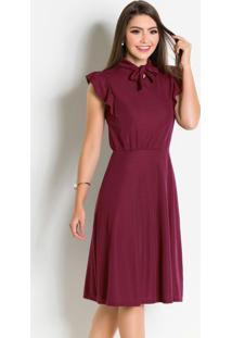 Vestido Bordô Com Gola Laço Moda Evangélica