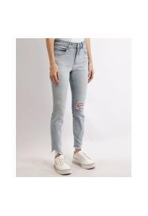 Calça Jeans Feminina Cigarrete Cintura Média Destroyed Azul Claro