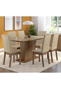 Conjunto Sala De Jantar Madesa Moscou Mesa Tampo De Vidro Com 6 Cadeiras Marrom - Tricae