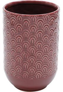 Vaso Decorativo De Cerâmica Donetz 13X20Cm - Vermelho/Branco