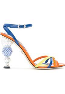 Dolce & Gabbana Sandália De Couro Salto Com Aplicações - Laranja