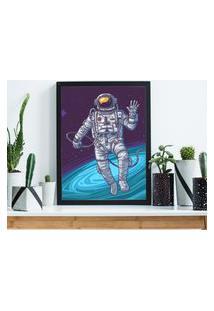 Quadro Decorativo Com Moldura Astronauta Preto - 20X25Cm