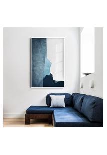 Quadro 90X60Cm Abstrato Geométrico Oriental Ireki Moldura Branca Com Vidro