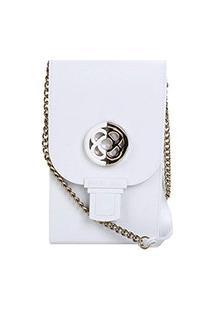 Bolsa Petite Jolie Mini Bag Phone Case Plus Feminina - Feminino-Branco