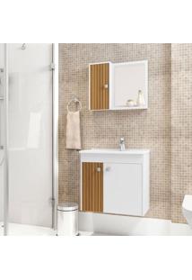 Conjunto Para Banheiro Munique Branco E Marrom