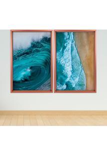 Quadro Com Moldura Chanfrada Beach Rose Metalizado - Mã©Dio - Multicolorido - Dafiti