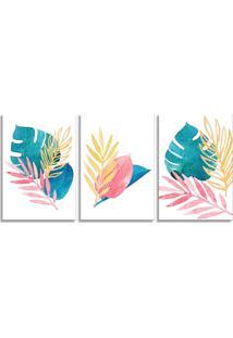 Quadro Oppen House 60X120Cm Folhagem Folhas Aquarela Canvas Decoração