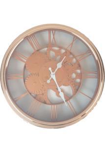 Relógio De Parede Estilo Mecânico Vintage Detalhes Cobre 30X30 - Minas