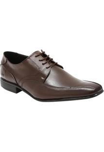 Sapato Social Leblon Em Couro Com Pespontos- Marromcns