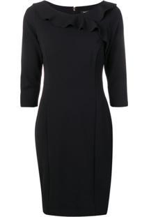 8f99dc308e ... Dkny Frill-Trim Fitted Dress - Preto