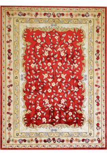 Tapete Tabriz Retangular Veludo 198X250 Cm Vermelho
