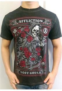 Camiseta Black Night Skull Preta Affliction - Masculino