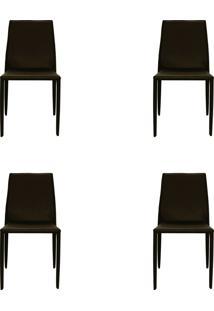 Kit 04 Cadeiras Amanda Pvc Marrom Rivatti
