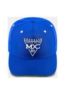 Boné Mxc Brasil Aba Curva Snapback Ajustável Brooklyn Azul