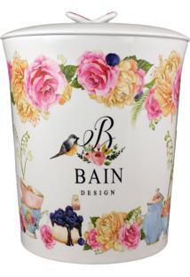 Lixeira Para Banheiro Em Porcelana Bain Design Flores 1 Peça - Amigold
