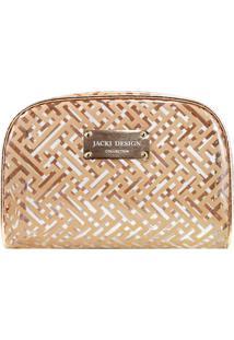Nécessaire Retangular- Incolor & Dourada- 15,5X22X7,Jacki Design