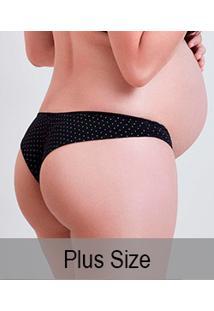Calcinha Fio Dental Gestante Poá Com Renda Mondress Maternity (8082E) Plus Size