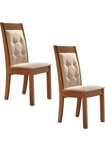 Conjunto Com 2 Cadeiras Rubi Chocolate E Cru