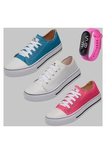 Tênis All-Star Feminino Estiloso Lona Kit Dexshoes Azul/Branco/Rosa Acompanha Relógio Digital