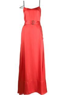 A.F.Vandevorst Vestido De Cetim Com Cinto - Vermelho
