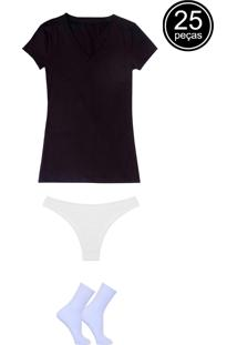 Kit Com 5 Blusas Gola V 10 Calcinhas Tanga E 10 Pares De Meias Esportivas Part.B Multicor