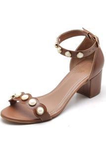 Sandália Top Franca Shoes Salto Alto Grosso Pedras Caramelo