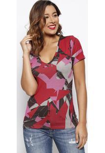 Blusa Canelada Com Tag- Vermelha & Rosa- Forumforum